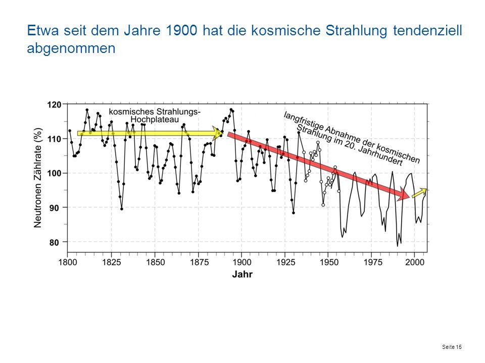 Seite 15 Etwa seit dem Jahre 1900 hat die kosmische Strahlung tendenziell abgenommen
