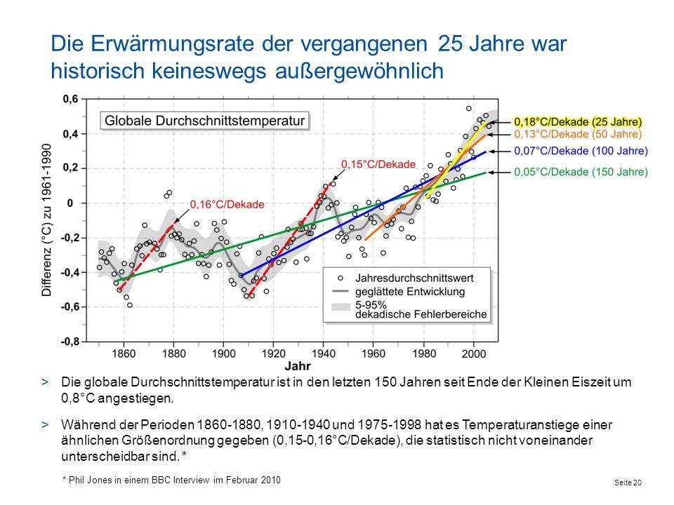 Seite 20 Die Erwärmungsrate der vergangenen 25 Jahre war historisch keineswegs außergewöhnlich >Die globale Durchschnittstemperatur ist in den letzten