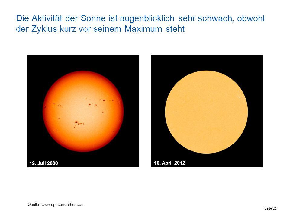 Seite 32 Die Aktivität der Sonne ist augenblicklich sehr schwach, obwohl der Zyklus kurz vor seinem Maximum steht 10. April 2012 19. Juli 2000 Quelle: