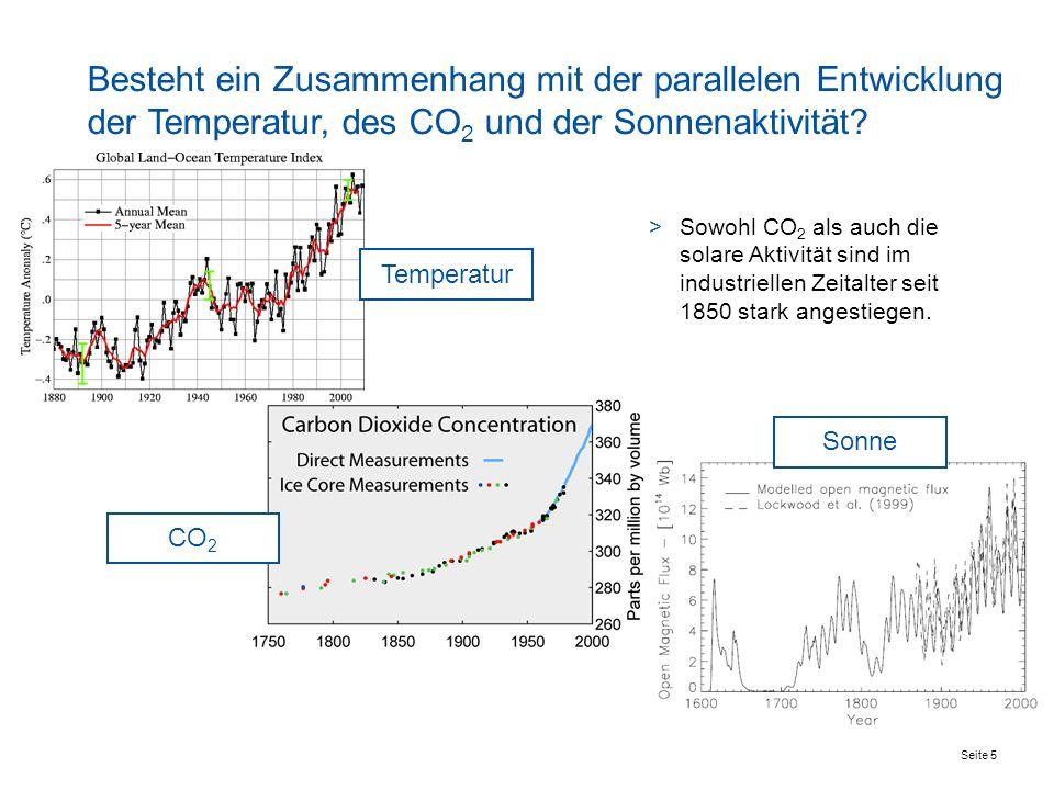 Seite 5 Besteht ein Zusammenhang mit der parallelen Entwicklung der Temperatur, des CO 2 und der Sonnenaktivität.