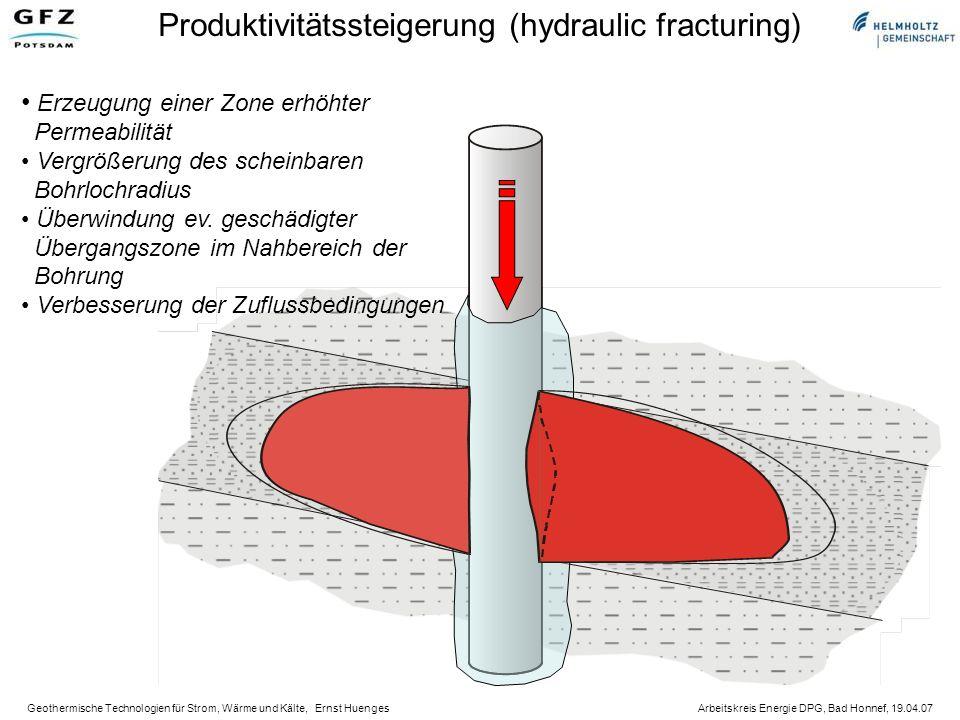 Geothermische Technologien für Strom, Wärme und Kälte, Ernst Huenges Arbeitskreis Energie DPG, Bad Honnef, 19.04.07 Produktivitätssteigerung (hydraulic fracturing) Erzeugung einer Zone erhöhter Permeabilität Vergrößerung des scheinbaren Bohrlochradius Überwindung ev.