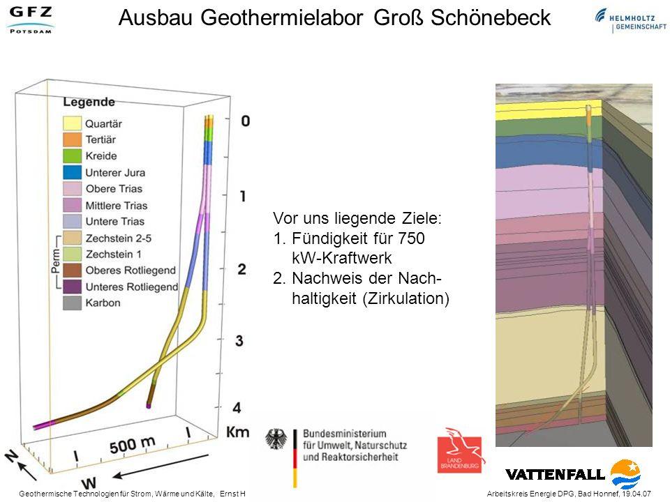 Geothermische Technologien für Strom, Wärme und Kälte, Ernst Huenges Arbeitskreis Energie DPG, Bad Honnef, 19.04.07 Ausbau Geothermielabor Groß Schönebeck Vor uns liegende Ziele: 1.