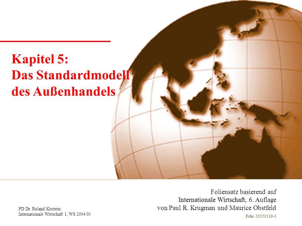 PD Dr. Roland Kirstein: Internationale Wirtschaft 1, WS 2004/05 Folie 20050119-1 Kapitel 1 Einführung Foliensatz basierend auf Internationale Wirtscha