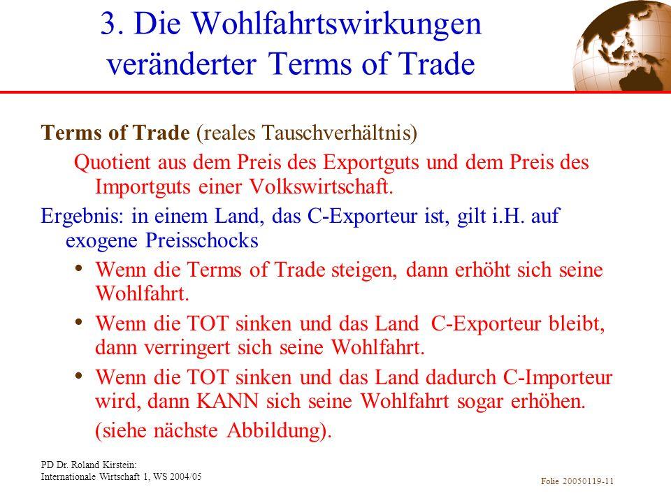 PD Dr. Roland Kirstein: Internationale Wirtschaft 1, WS 2004/05 Folie 20050119-11 Terms of Trade (reales Tauschverhältnis) Quotient aus dem Preis des