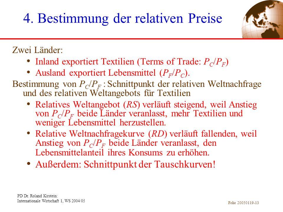 PD Dr. Roland Kirstein: Internationale Wirtschaft 1, WS 2004/05 Folie 20050119-13 Zwei Länder: Inland exportiert Textilien (Terms of Trade: P C /P F )