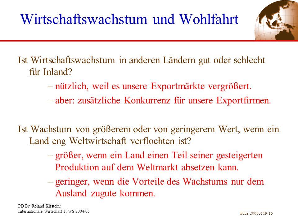 PD Dr. Roland Kirstein: Internationale Wirtschaft 1, WS 2004/05 Folie 20050119-16 Ist Wirtschaftswachstum in anderen Ländern gut oder schlecht für Inl