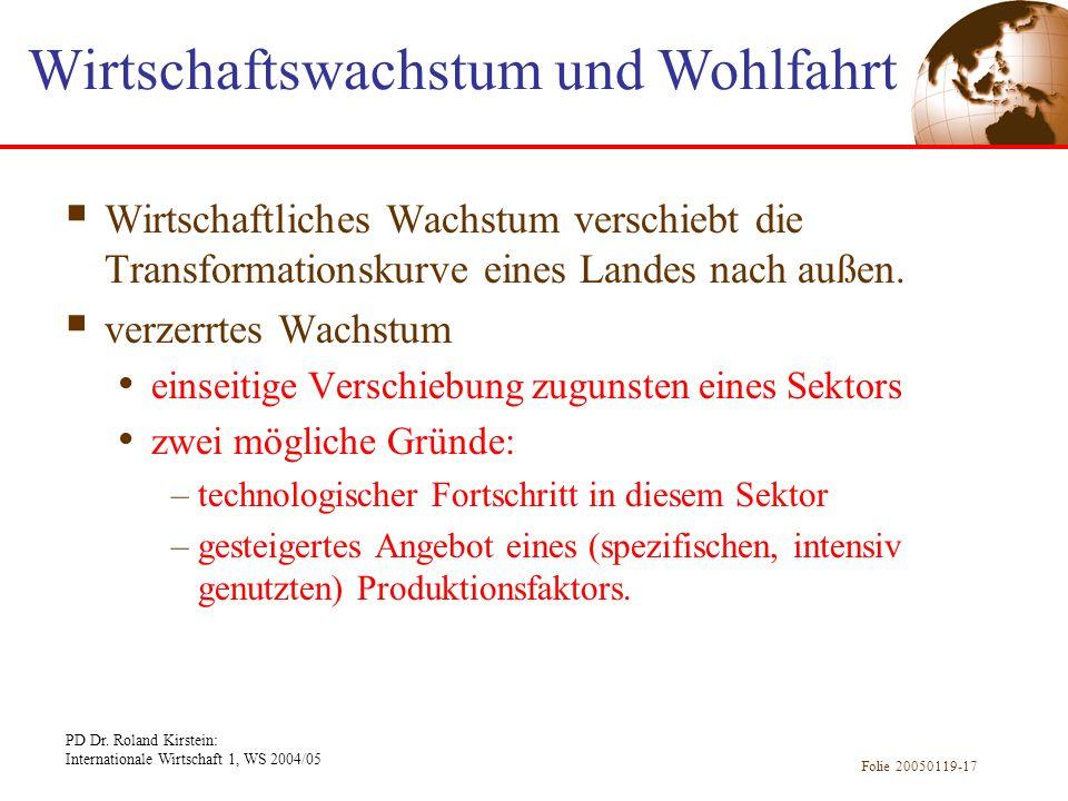 PD Dr. Roland Kirstein: Internationale Wirtschaft 1, WS 2004/05 Folie 20050119-17 Wirtschaftliches Wachstum verschiebt die Transformationskurve eines