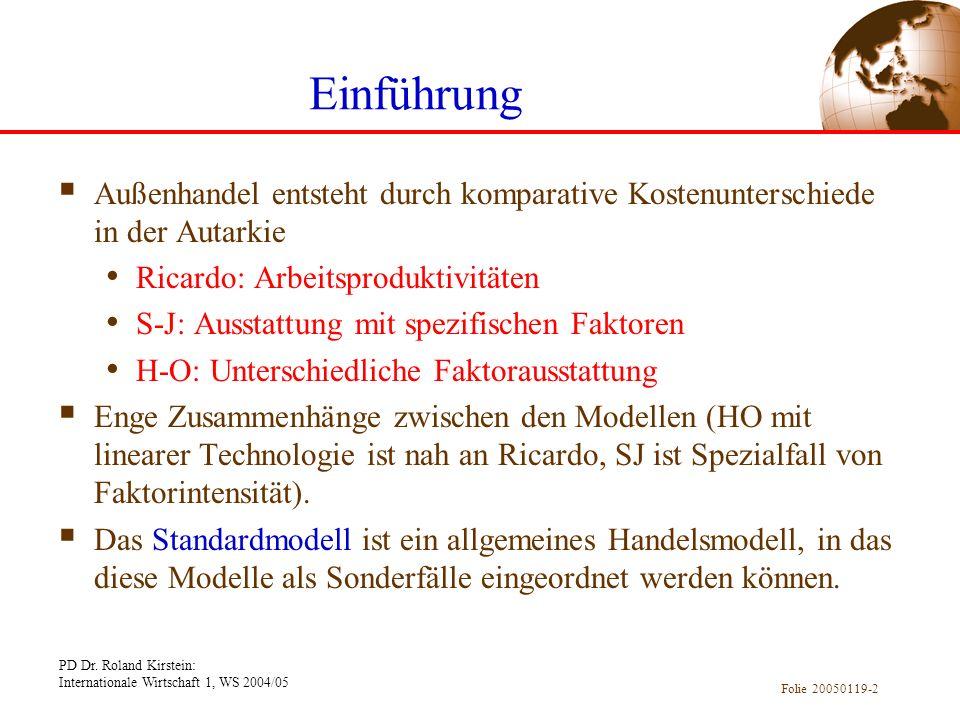 PD Dr. Roland Kirstein: Internationale Wirtschaft 1, WS 2004/05 Folie 20050119-2 Einführung Außenhandel entsteht durch komparative Kostenunterschiede