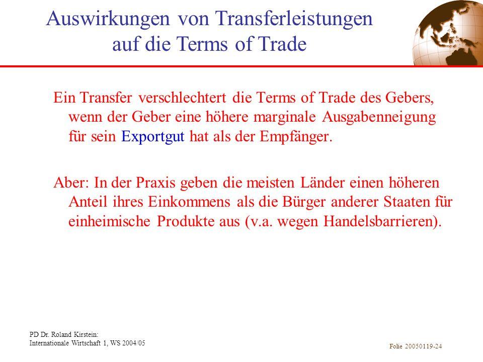 PD Dr. Roland Kirstein: Internationale Wirtschaft 1, WS 2004/05 Folie 20050119-24 Ein Transfer verschlechtert die Terms of Trade des Gebers, wenn der
