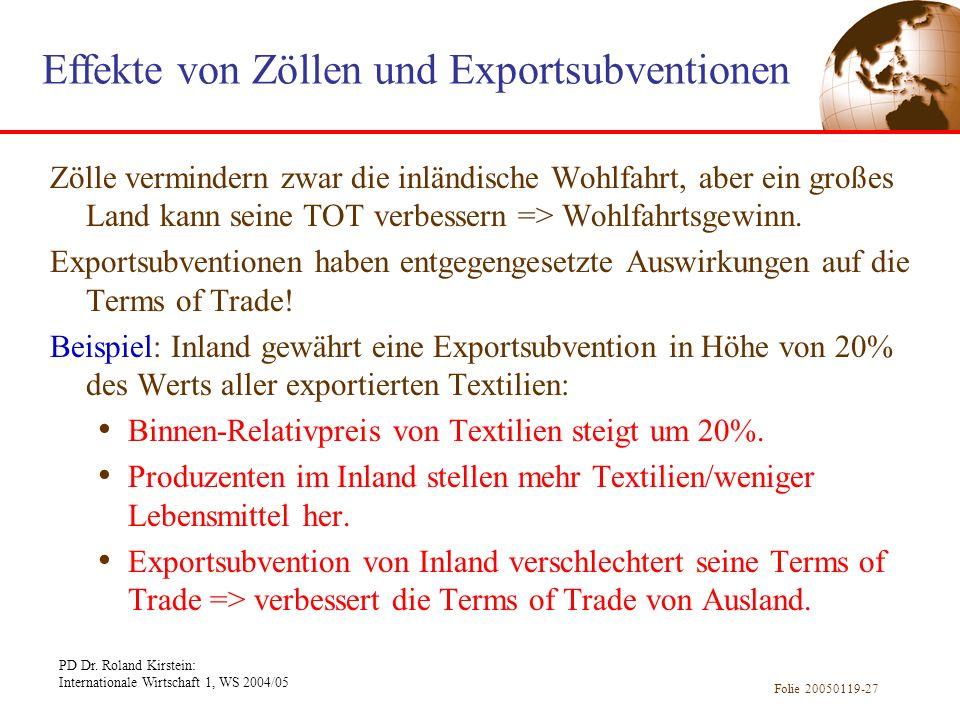 PD Dr. Roland Kirstein: Internationale Wirtschaft 1, WS 2004/05 Folie 20050119-27 Zölle vermindern zwar die inländische Wohlfahrt, aber ein großes Lan
