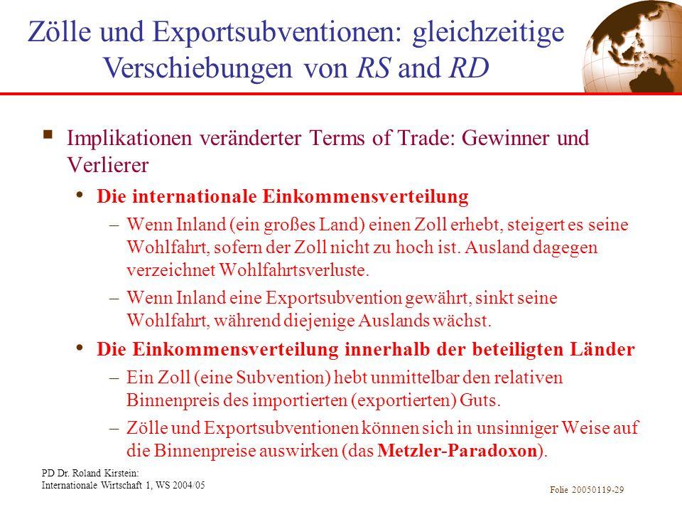 PD Dr. Roland Kirstein: Internationale Wirtschaft 1, WS 2004/05 Folie 20050119-29 Implikationen veränderter Terms of Trade: Gewinner und Verlierer Die
