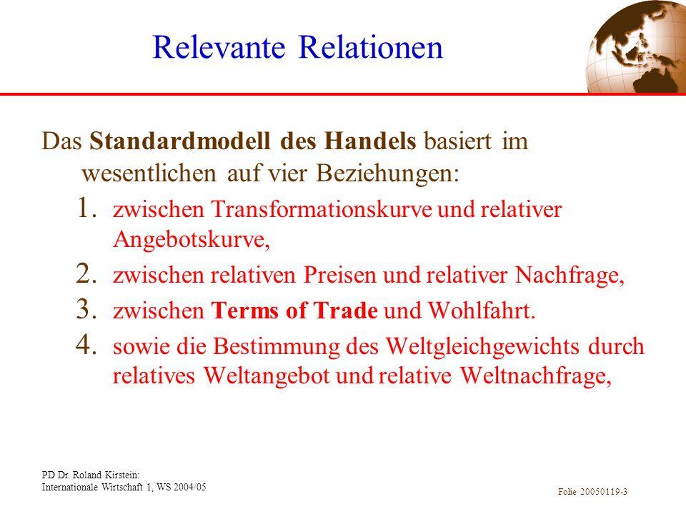 PD Dr. Roland Kirstein: Internationale Wirtschaft 1, WS 2004/05 Folie 20050119-3 Relevante Relationen Das Standardmodell des Handels basiert im wesent