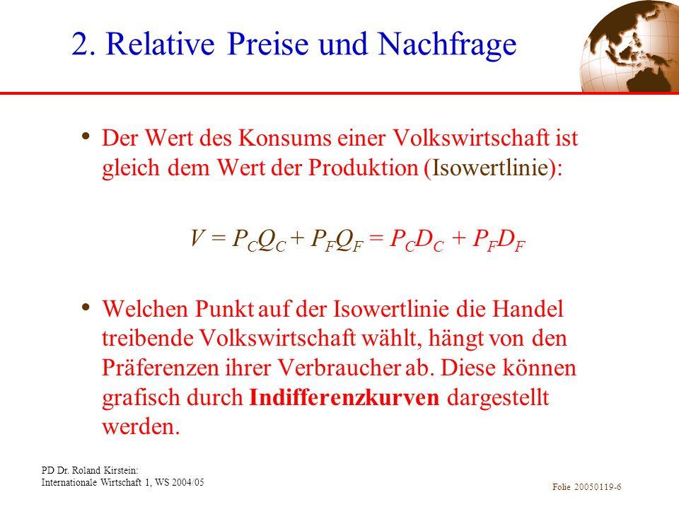 PD Dr. Roland Kirstein: Internationale Wirtschaft 1, WS 2004/05 Folie 20050119-6 Der Wert des Konsums einer Volkswirtschaft ist gleich dem Wert der Pr