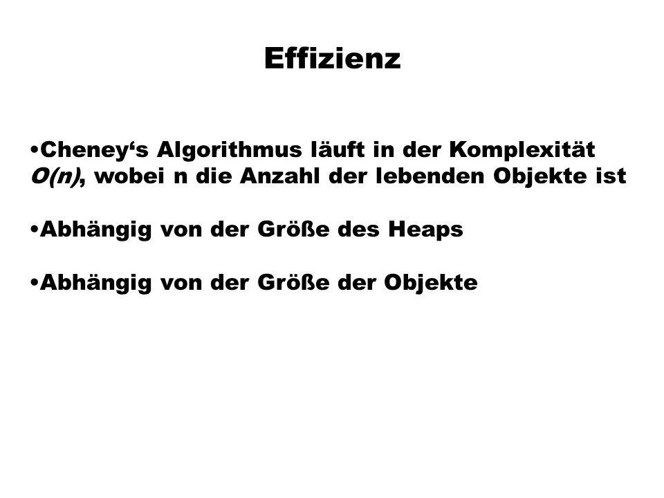 Effizienz Cheneys Algorithmus läuft in der Komplexität O(n), wobei n die Anzahl der lebenden Objekte ist Abhängig von der Größe des Heaps Abhängig von der Größe der Objekte