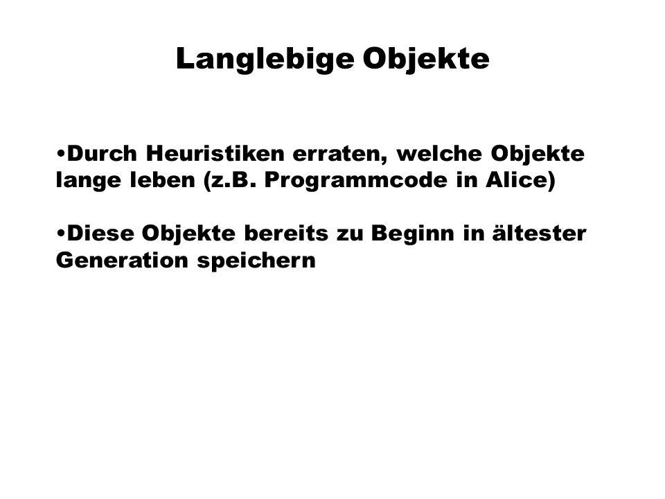 Langlebige Objekte Durch Heuristiken erraten, welche Objekte lange leben (z.B.