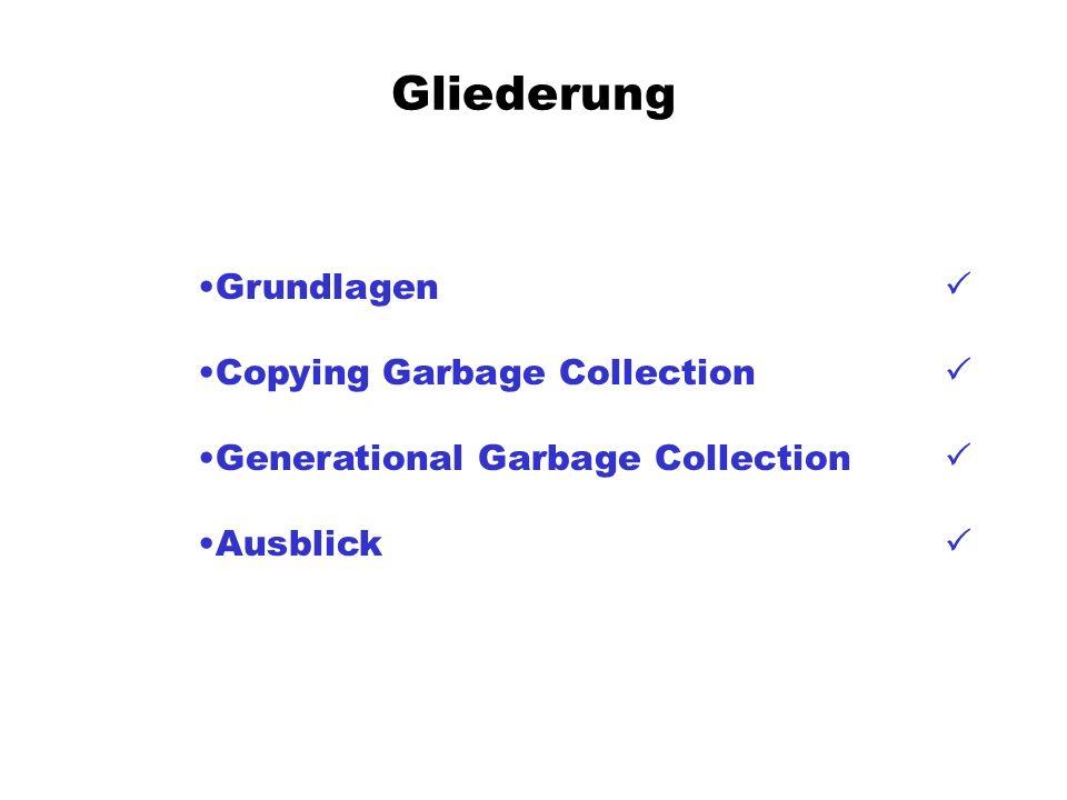 Gliederung Grundlagen Copying Garbage Collection Generational Garbage Collection Ausblick