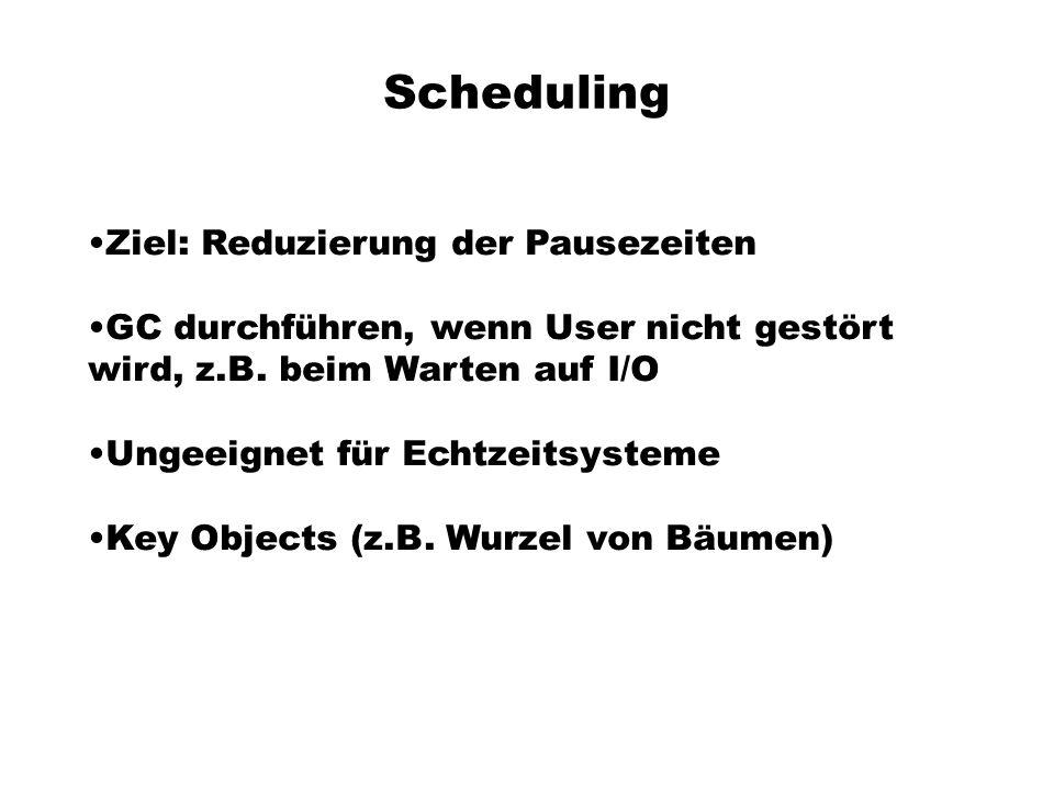 Scheduling Ziel: Reduzierung der Pausezeiten GC durchführen, wenn User nicht gestört wird, z.B.