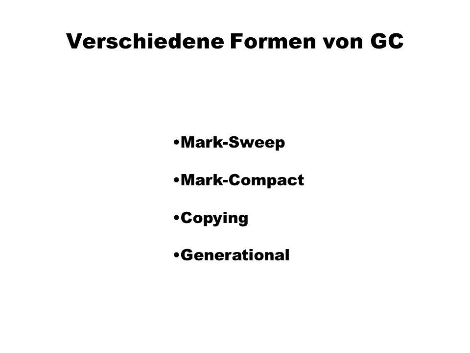 Verschiedene Formen von GC Mark-Sweep Mark-Compact Copying Generational