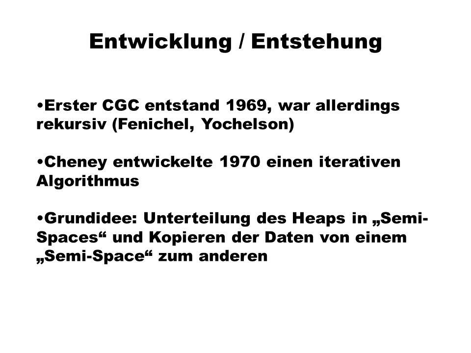 Entwicklung / Entstehung Erster CGC entstand 1969, war allerdings rekursiv (Fenichel, Yochelson) Cheney entwickelte 1970 einen iterativen Algorithmus Grundidee: Unterteilung des Heaps in Semi- Spaces und Kopieren der Daten von einem Semi-Space zum anderen