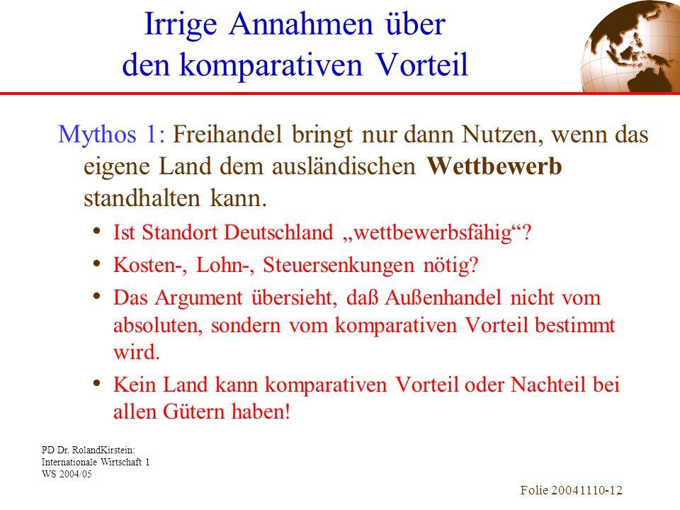 PD Dr. RolandKirstein: Internationale Wirtschaft 1 WS 2004/05 Folie 20041110-12 Mythos 1: Freihandel bringt nur dann Nutzen, wenn das eigene Land dem