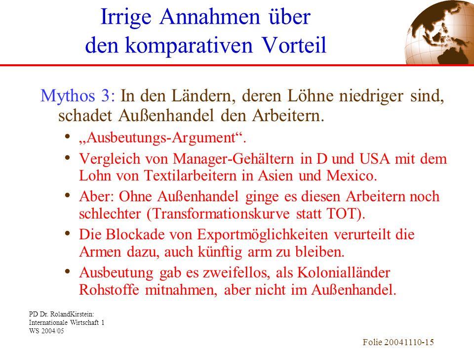 PD Dr. RolandKirstein: Internationale Wirtschaft 1 WS 2004/05 Folie 20041110-15 Mythos 3: In den Ländern, deren Löhne niedriger sind, schadet Außenhan
