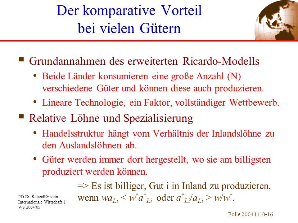 PD Dr. RolandKirstein: Internationale Wirtschaft 1 WS 2004/05 Folie 20041110-16 Grundannahmen des erweiterten Ricardo-Modells Beide Länder konsumieren