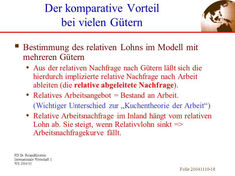 PD Dr. RolandKirstein: Internationale Wirtschaft 1 WS 2004/05 Folie 20041110-18 Bestimmung des relativen Lohns im Modell mit mehreren Gütern Aus der r