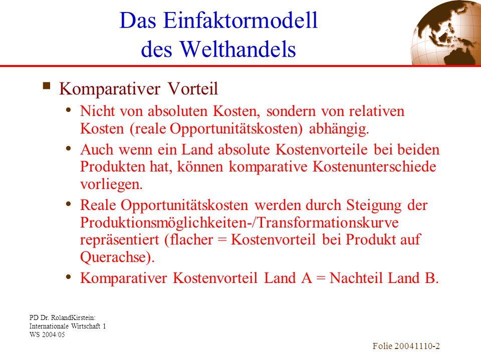 PD Dr. RolandKirstein: Internationale Wirtschaft 1 WS 2004/05 Folie 20041110-2 Komparativer Vorteil Nicht von absoluten Kosten, sondern von relativen