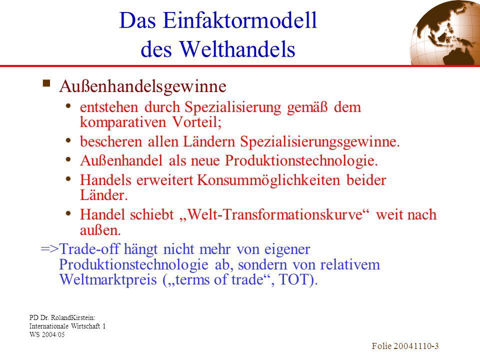 PD Dr. RolandKirstein: Internationale Wirtschaft 1 WS 2004/05 Folie 20041110-3 Außenhandelsgewinne entstehen durch Spezialisierung gemäß dem komparati