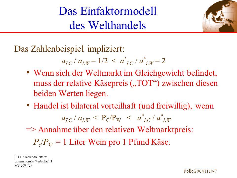 PD Dr. RolandKirstein: Internationale Wirtschaft 1 WS 2004/05 Folie 20041110-7 Das Zahlenbeispiel impliziert: a LC / a LW = 1/2 < a * LC / a * LW = 2