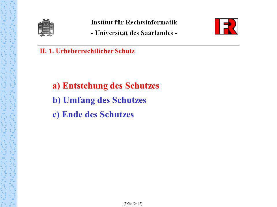II. 1. Urheberrechtlicher Schutz [Folie Nr. 18] a) Entstehung des Schutzes b) Umfang des Schutzes c) Ende des Schutzes