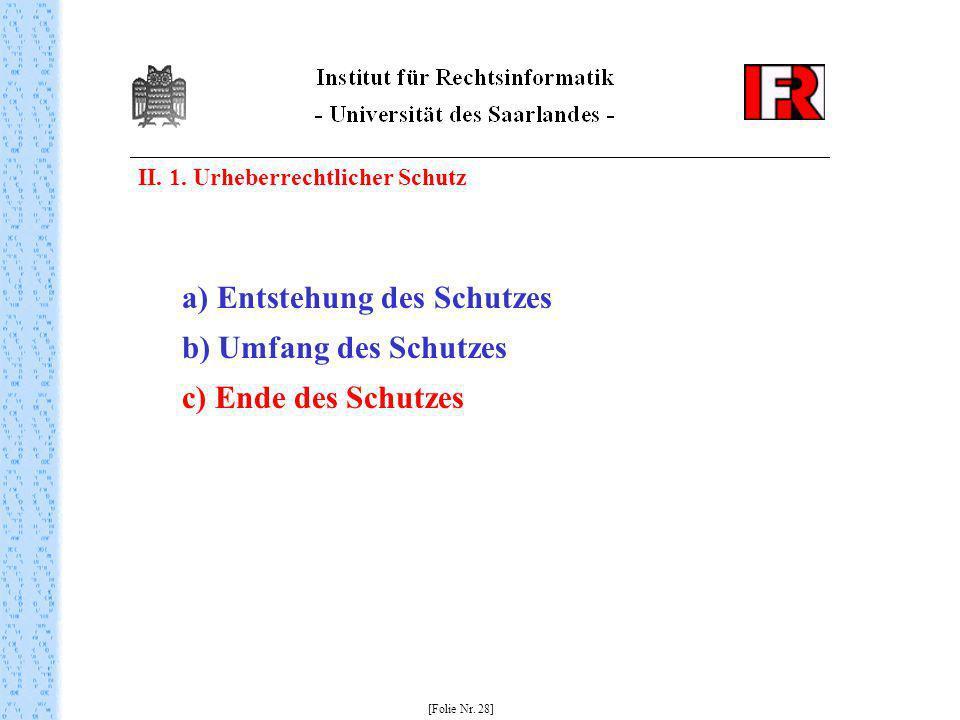 II. 1. Urheberrechtlicher Schutz [Folie Nr. 28] a) Entstehung des Schutzes b) Umfang des Schutzes c) Ende des Schutzes