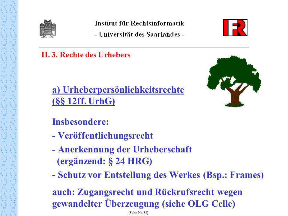 II. 3. Rechte des Urhebers a) Urheberpersönlichkeitsrechte (§§ 12ff. UrhG) Insbesondere: - Veröffentlichungsrecht - Anerkennung der Urheberschaft (erg