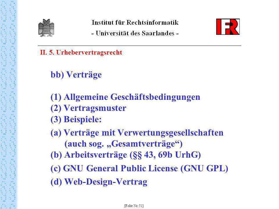 II. 5. Urhebervertragsrecht bb) Verträge (1) Allgemeine Geschäftsbedingungen (2) Vertragsmuster (3) Beispiele: (a) Verträge mit Verwertungsgesellschaf