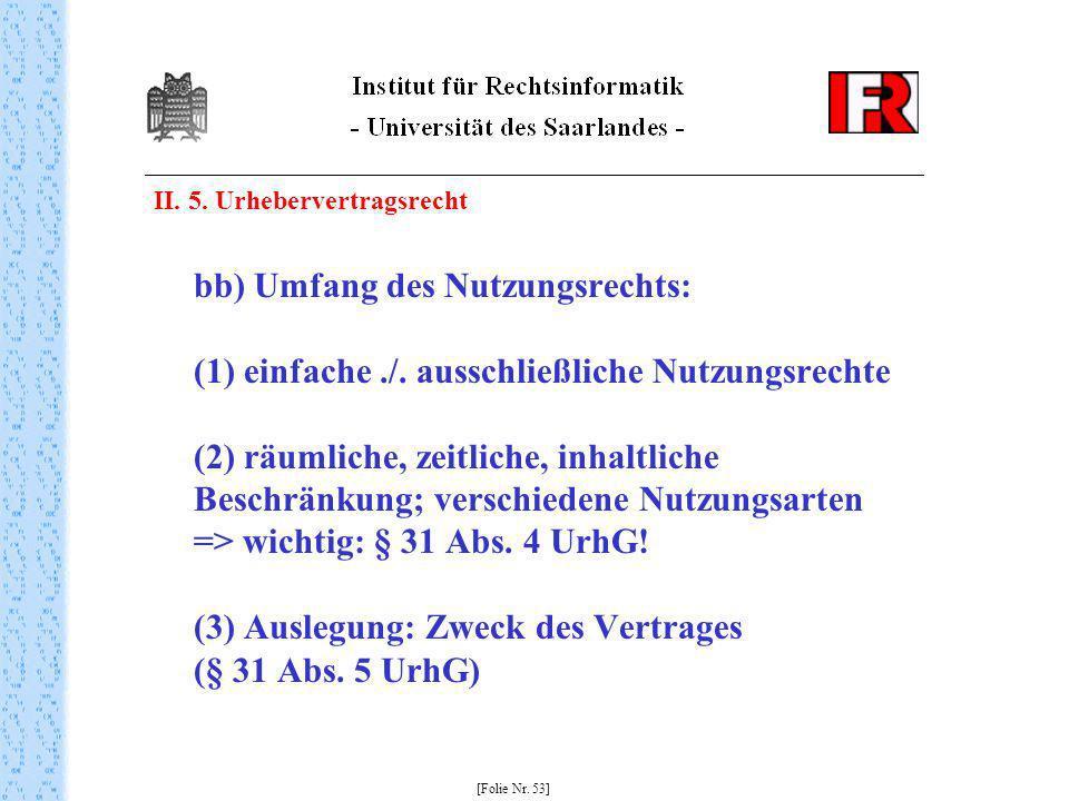 II. 5. Urhebervertragsrecht bb) Umfang des Nutzungsrechts: (1) einfache./. ausschließliche Nutzungsrechte (2) räumliche, zeitliche, inhaltliche Beschr