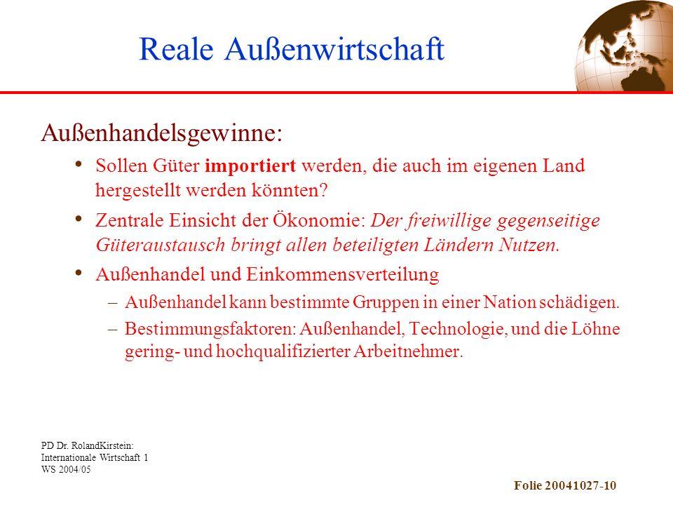 PD Dr. RolandKirstein: Internationale Wirtschaft 1 WS 2004/05 Folie 20041027-10 Außenhandelsgewinne: Sollen Güter importiert werden, die auch im eigen