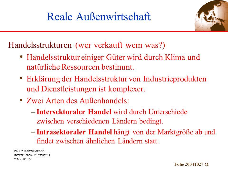 PD Dr. RolandKirstein: Internationale Wirtschaft 1 WS 2004/05 Folie 20041027-11 Handelsstrukturen (wer verkauft wem was?) Handelsstruktur einiger Güte