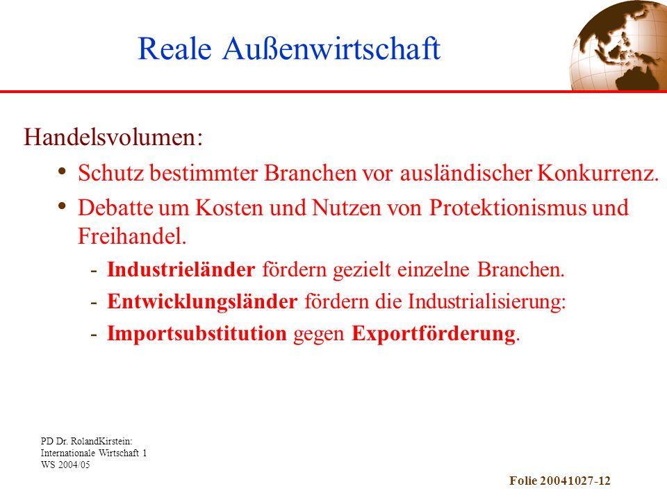 PD Dr. RolandKirstein: Internationale Wirtschaft 1 WS 2004/05 Folie 20041027-12 Handelsvolumen: Schutz bestimmter Branchen vor ausländischer Konkurren