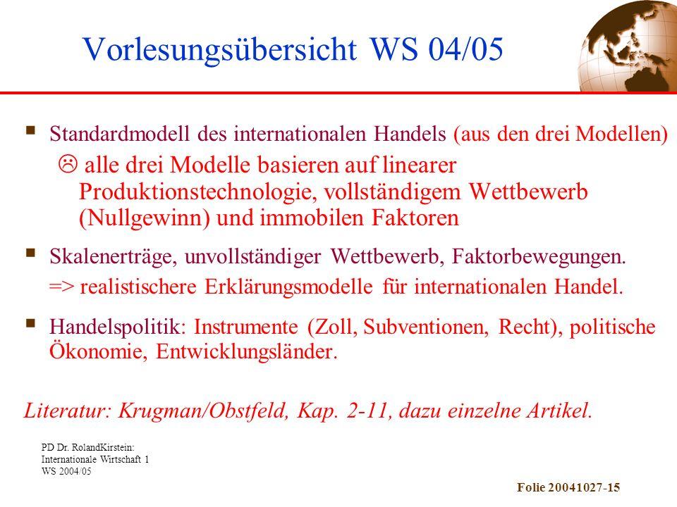 PD Dr. RolandKirstein: Internationale Wirtschaft 1 WS 2004/05 Folie 20041027-15 Standardmodell des internationalen Handels (aus den drei Modellen) all