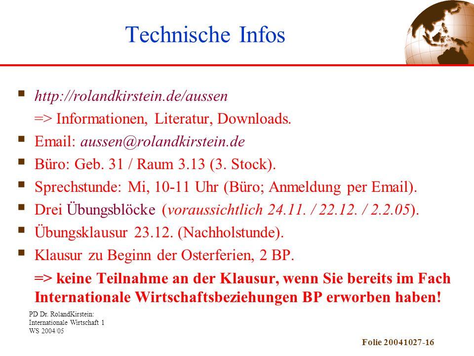 PD Dr. RolandKirstein: Internationale Wirtschaft 1 WS 2004/05 Folie 20041027-16 http://rolandkirstein.de/aussen => Informationen, Literatur, Downloads