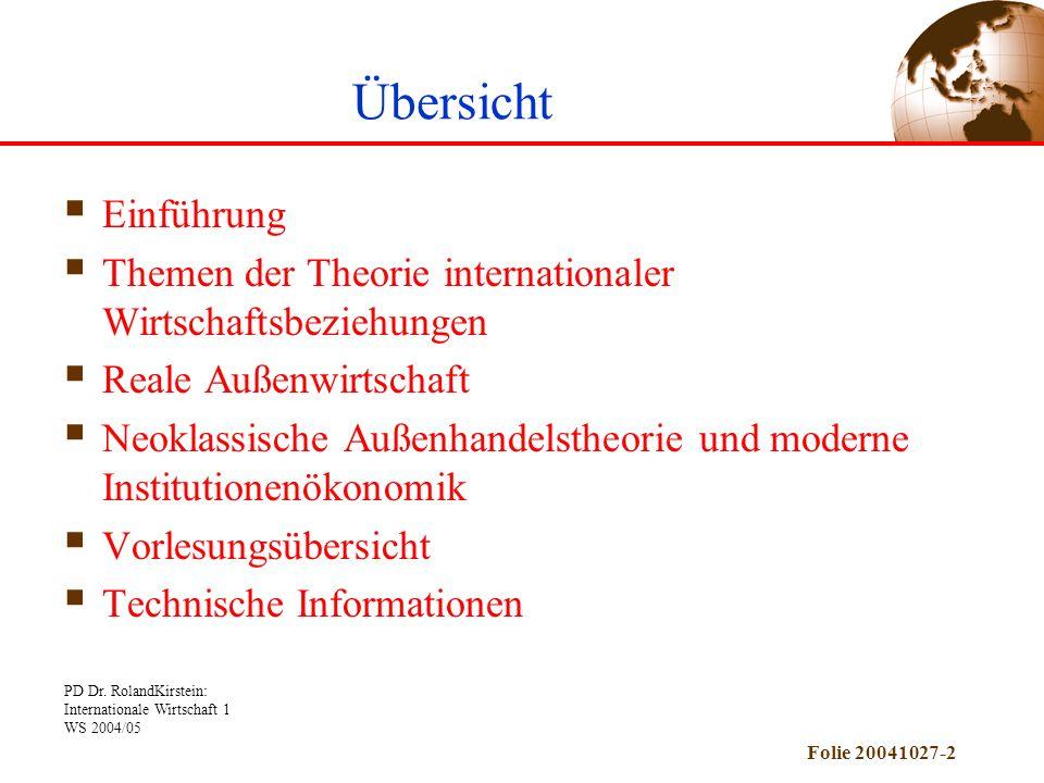 PD Dr. RolandKirstein: Internationale Wirtschaft 1 WS 2004/05 Folie 20041027-2 Übersicht Einführung Themen der Theorie internationaler Wirtschaftsbezi