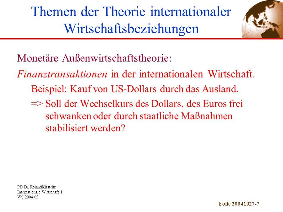 PD Dr. RolandKirstein: Internationale Wirtschaft 1 WS 2004/05 Folie 20041027-7 Monetäre Außenwirtschaftstheorie: Finanztransaktionen in der internatio