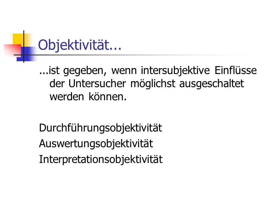 Objektivität......ist gegeben, wenn intersubjektive Einflüsse der Untersucher möglichst ausgeschaltet werden können. Durchführungsobjektivität Auswert