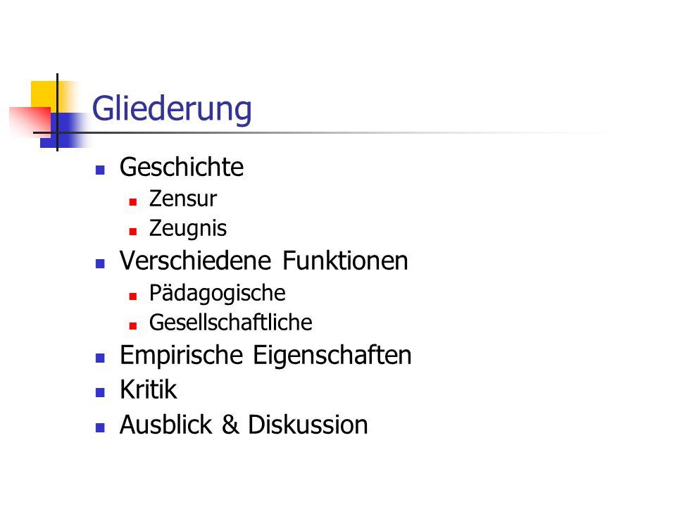 Gliederung Geschichte Zensur Zeugnis Verschiedene Funktionen Pädagogische Gesellschaftliche Empirische Eigenschaften Kritik Ausblick & Diskussion