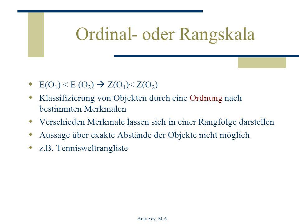 Anja Fey, M.A. Ordinal- oder Rangskala E(O 1 ) < E (O 2 ) Z(O 1 )< Z(O 2 ) Klassifizierung von Objekten durch eine Ordnung nach bestimmten Merkmalen V