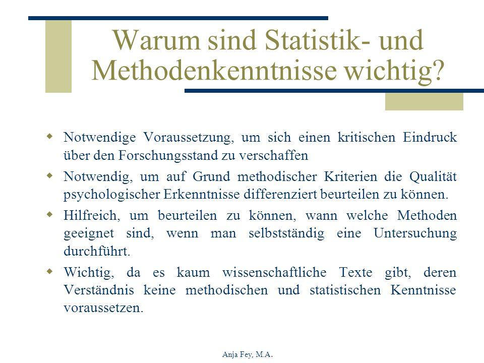 Anja Fey, M.A. Warum sind Statistik- und Methodenkenntnisse wichtig? Notwendige Voraussetzung, um sich einen kritischen Eindruck über den Forschungsst