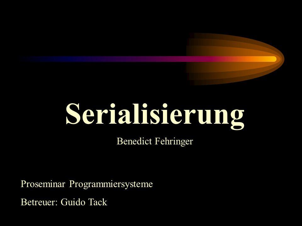 Serialisierung Proseminar Programmiersysteme Betreuer: Guido Tack Benedict Fehringer