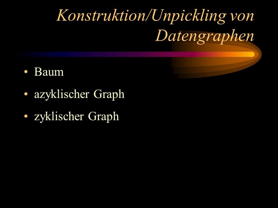 Konstruktion/Unpickling von Datengraphen Baum azyklischer Graph zyklischer Graph