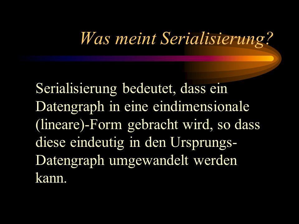 Was meint Serialisierung? Serialisierung bedeutet, dass ein Datengraph in eine eindimensionale (lineare)-Form gebracht wird, so dass diese eindeutig i