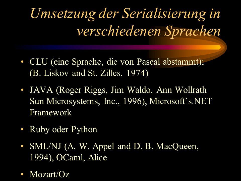 Umsetzung der Serialisierung in verschiedenen Sprachen CLU (eine Sprache, die von Pascal abstammt); (B. Liskov and St. Zilles, 1974) JAVA (Roger Riggs